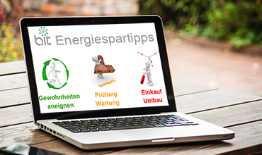 Energiespartipps: Gewohnheiten aneignen, Prüfung+Wartung, Einkauf+Umbau